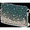 Jimmy Choo CALLIE Dark Green Suede Clutc - Clutch bags -