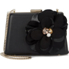 LANVIN Black Flower Appliqué Leather Clu - Schnalltaschen -