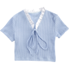 Lace Student Tops Women's Short Sleeve Skinny Neck Short T-Shirt - Shirts - $25.99