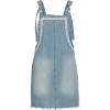 Lace Trim Denim Pinafore - Dresses -