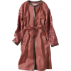 Lace embroidery leather coat - Jacket - coats -