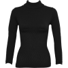 Ladies Black Seamless Long Sleeve Turtleneck Top Diamond Pattern - Long sleeves t-shirts - $12.50