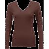 Ladies Brown Long Sleeve Thermal Top V-Neck - 长袖T恤 - $8.90  ~ ¥59.63