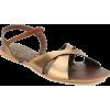 Lamere Fancy Antic Gold Flat Sandals - Sandals -