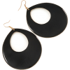 Large Black Enamel Oval Hoop Earrings - Earrings - £6.50