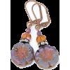 Lavender Purple Flower Beaded Earrings - イヤリング - $19.50  ~ ¥2,195