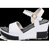 Leather Wedge Heel Buckle Sandals - Sandals -