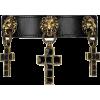 Leather choker with cross pendant - Halsketten - $1,755.00  ~ 1,507.34€