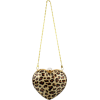 Leopard Animal Print Heart Shaped Hard Case Clutch Baguette Evening Bag Handbag Purse w/Chain Strap - Carteras - $38.50  ~ 33.07€