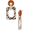 Leopard Pattern Geometric Drop Earrings - Naušnice -