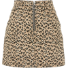 Leopard Print Denim Skirt - Skirts -