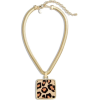 Leopard-Print Pendant Necklace - Necklaces -