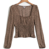 Leopard fashion square collar pullover s - Shirts - $25.99