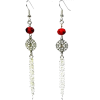 Long Red Rondelle Silver Chain Earrings - Orecchine - $17.35  ~ 14.90€