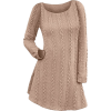 Long Sleeve Cable Knit Tunic Sweater Dre - Obleke -
