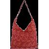 Luscious Feather like Pattern Handmade Beaded Shopper Hobo Handbag Satchel Purse Tote Bag Red - Hand bag - $35.50