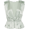 MARYSIA green satin blouse - Košulje - kratke -