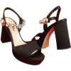 MIU MIU black satin jeweled platform - Sandals -
