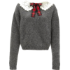 MIU MIU grey sweater lace collar and bow - Pullovers -