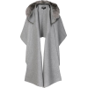 Mackage Fox Fur Hooded Cape Poncho - Gre - Jacket - coats -