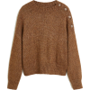 Mango brown buttoned knit jumper - Pullovers -