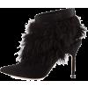 Manolo Blahnik Satin & Feather Booties - Botas -