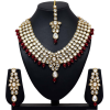 Maroon Color Kundan Necklace - Collares -