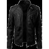 Mens Cafe Racer Black Slimfit Leather Jacket  MENS CAFE RACER BLACK SLIMFIT LEAT - Jacket - coats - $200.00
