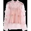 Mesh three-dimensional flower stitching - 半袖シャツ・ブラウス - $17.99  ~ ¥2,025