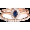 Mini Diana Ring Oval Gemston Halo Diamon - Anelli -