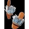 Miu Miu Jeweled Feather Mule Slide Sanda - フラットシューズ -