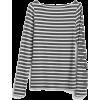 Modern Stripe Long Sleeve Boatneck T-Shi - Koszulki - długie -