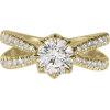 Moissanite & Diamonds Engagement Ring, S - Rings -