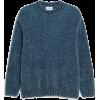 Monki Blue Velvety Knit Sweater - Pullovers -