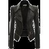 Motorcycle Leather Jacket Lower Edge Blk - Jacket - coats -