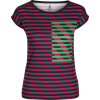 Multi Color Striped Fitted Tee - T-shirts - $46.00
