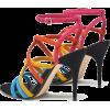 Multicolored leather sandals - Sandalias -