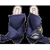 No. 21 Crystal Eye Satin Sandals - Flats -