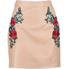 Nude Floral Pleather Skirt - Skirts -