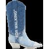 OFF WHITE blue denim cowboy boot - Stivali -