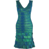 Oil Print Ruffled Bandage - Dresses - $140.00