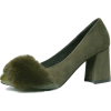 Olive Fur Heels Suede and Patent Leather - Klasične cipele -