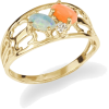 Opal & Pink Coral Ring with Diamonds in - Rings - $445.00  ~ £338.20