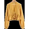 Open Long Sleeve Puff Sleeve Top - Shirts - $28.99