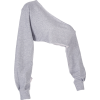 Open back slant short ultra-sleeve sweat - Long sleeves shirts - $15.99