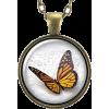Orange Monarch Butterfly Necklace Pendan - Necklaces -