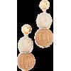 Oscar de la Renta Raffia & Wood Ball Ear - Orecchine -