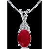 Oval Ruby V-Bale Pendant - Necklaces - $479.00
