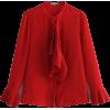 PLEATED RUFFLED BLOUSE (2 COLORS) - Camisa - longa - $27.97  ~ 24.02€