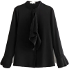 PLEATED RUFFLED BLOUSE - Black - Hemden - lang - $27.97  ~ 24.02€